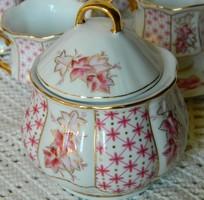Kecses formájú IBC porcelán cukortartó, pink és arany