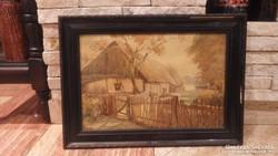 Weber József régi akvarell festmény
