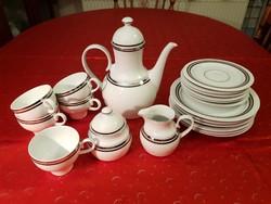 Különleges, gyönyörű formájú és ritka mintával díszített kávés/teáskészlet!