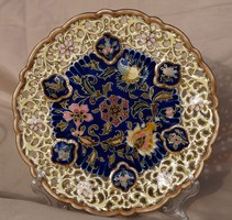 Zsolnay antik áttört tányér 1880 körül