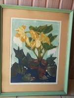 Hangulatos remek festmény-Mazsaroff Miklós  /1929-1997/Begóniák vegyestech.,jelz.