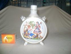 Drasche porcelán kulacs népviseletes mintával