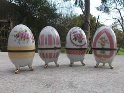 Ékszertartó porcelán tojás-húsvéti tojás nagy méret-rézpánttal