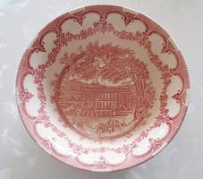Angol fajansz tál rózsagirlandos csíkos minta 21,5 cm