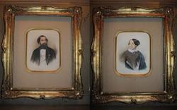 LIEDER FRIGYES ÉS FIA: BIDERMEIER NŐ + FÉRFI PORTRÉ NOWOTNY WIEN FESTMÉNY 1847 + KORABELI KERET