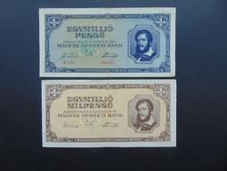 1 millió pengő 1945 - 1 millió milpengő 1946 LOT !