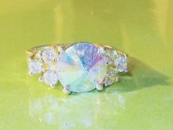 Szivárvány CZ köves 925 ezüst gyűrű 8.5-es