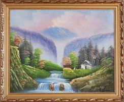 Szignózott színes patakos házikós tájkép kerettel