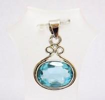 Ezüst medál kék topáz kővel (ZAL-Ag77533)