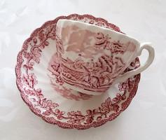 Angol fajansz csésze makkos lovas vadászos minta
