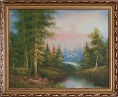 Szignózott színes erdős táj