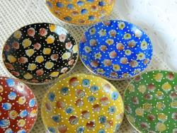Japán kézzel festett színes tálka, kínáló 6 db