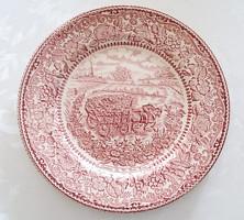Angol fajansz tányér lovas szekér makk szeder tölgyfalevél minta 24,5 cm