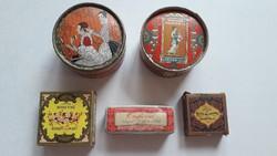 Régi púderes szappanos doboz vintage francia piperekellék Paris 5 db