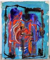 Rác András (1926-2013) hidegzománc kompozíció 17x14 cm. EREDETI GARANCIÁVAL !