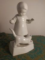 Zsolnay porcelán kislány cicával