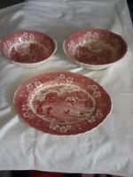 Bordó mintás angol porcelán tál szett