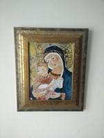 Fehér Margit zománckép (Madonna gyermekével