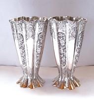 Csodás perzsa ezüst váza pár, c. 1910.