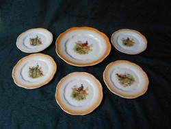 Zsolnay antik madár mintás süteményes készlet.