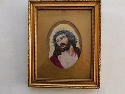 Nagyon szép régi gobelin nagyon szép keretben: Krisztus töviskoszorúval