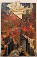 Rác András (1926-2013) Mozaik relief 64x40cm Vonulás-őszi vihar közeleg c. EREDETI GARANCIÁVAL !