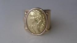 Arany 18 karátos szecessziós stílusú gyönyörű gyűrű nyitott gyűrű sinnel