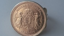 """Arany 18 karátos gyűrű FERENC JÓZSEF """" ARANYA, 10 KORONA, ARANY, OSZTRÁK–MAGYAR MONARCHIA, 1892-1915"""