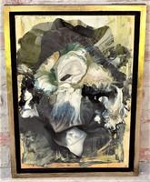 Rác András (1926-2013) olajfesték- gyanta- zománc kompozíció 66x49 cm. EREDETI GARANCIÁVAL !