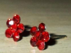 Rubint kristályos Virág 925 ezüst fülbevaló
