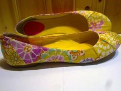 Márkás designer FUNKY SHOES virágos gyönyörű nyári balerina cipő aranysárga 41