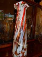 Cseh üveg  váza az anyagában kétszínű-nem festett 24  cm