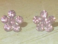 Rózsaszín Topáz kr. köves Virág 925 ezüst Fülbevaló