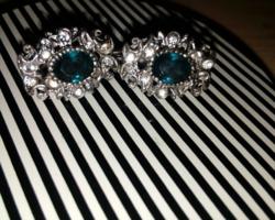 Gyönyörű antik, kézműves, ezüst fülbevaló patentzáras