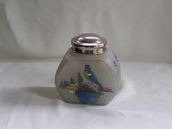 Antik ritka különleges kézzel festett üveg tároló.