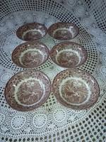 Angol jelenetes műzlis tányér,barna... Ironstone.