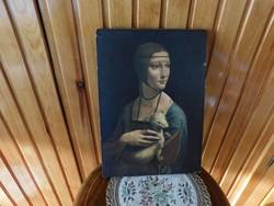 Ikon szerű modern reprodukció, Leonardo da Vinci. Hölgy hermelinnel