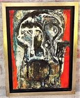 Rác András (1926-2013) hidegzománc kompozíció 51x38 cm. EREDETI GARANCIÁVAL !
