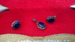 Régi ékszer szett markazit és kék kővel