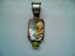 Abalone ( páua kagyló) csodaszép ezüst nagyméretű medál