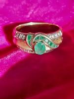 Arany gyűrű gyémántokkal, smaragddal 1 forintról!!!