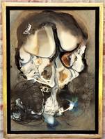 Rác András (1926-2013) olajfesték- gyanta- zománc kompozíció 69x51 cm. EREDETI GARANCIÁVAL !
