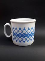 Zsolnay retro kék geometrikus mintás bögre