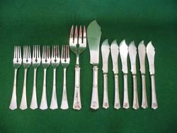 Art-Deco ezüst halas készlet 6 személyes 14 darabos