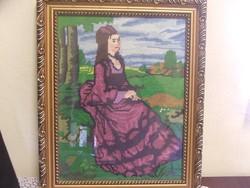 Lilaruhás nő gobelin kép