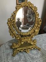 Dúsan díszített barokk fém asztali tükör