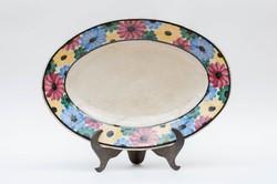 Városlődi kerámia tányér - virágmintával