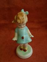 Bodrogkeresztúri porcelán kék ruhás katicás kislány
