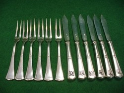 Art- Deco ezüst homár evőeszköz készlet, kis méretű készlet, 6 személyes