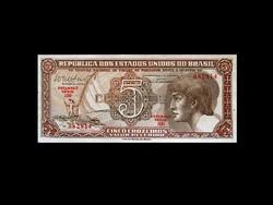 UNC - 5 CRUZEIROS - BRAZILIA - 1961 - (OLD MONEY)